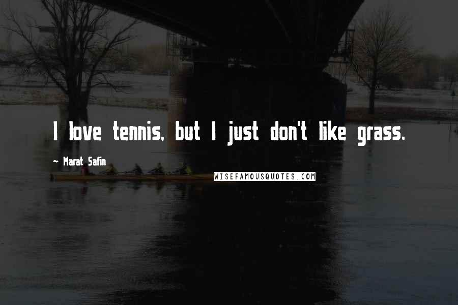 Marat Safin quotes: I love tennis, but I just don't like grass.