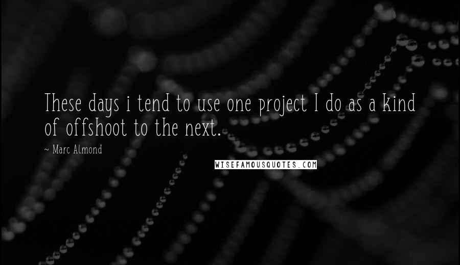 Marc Almond quotes: These days i tend to use one project I do as a kind of offshoot to the next.