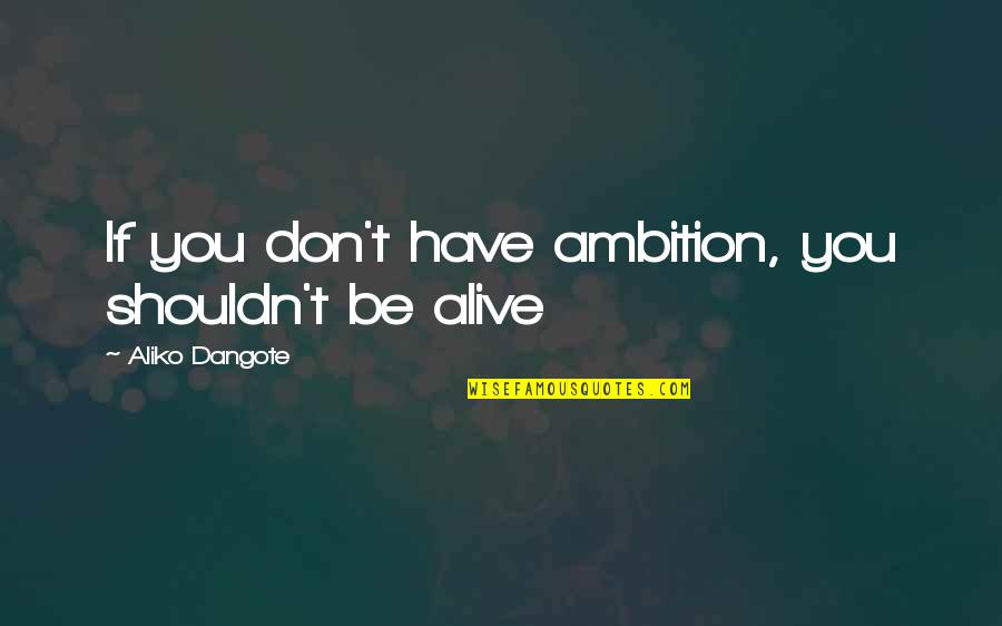 Marching Band Percussion Quotes By Aliko Dangote: If you don't have ambition, you shouldn't be