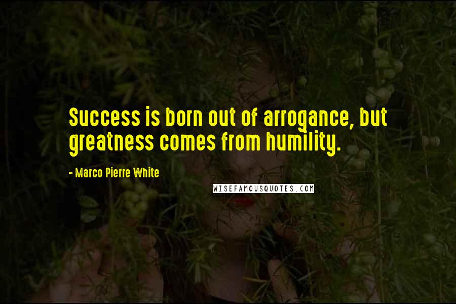 Marco Pierre White quotes: Success is born out of arrogance, but greatness comes from humility.