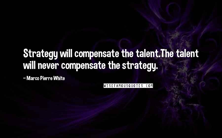 Marco Pierre White quotes: Strategy will compensate the talent.The talent will never compensate the strategy.