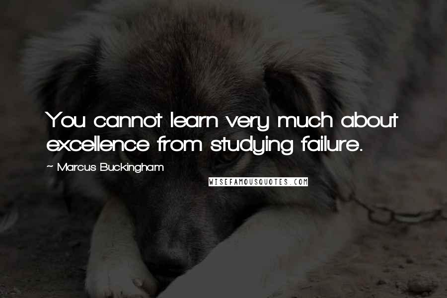 Marcus Buckingham quotes: You cannot learn very much about excellence from studying failure.