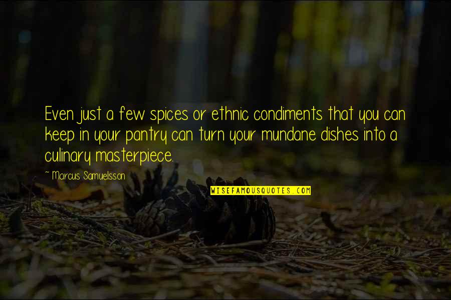 Marcus Samuelsson Quotes By Marcus Samuelsson: Even just a few spices or ethnic condiments
