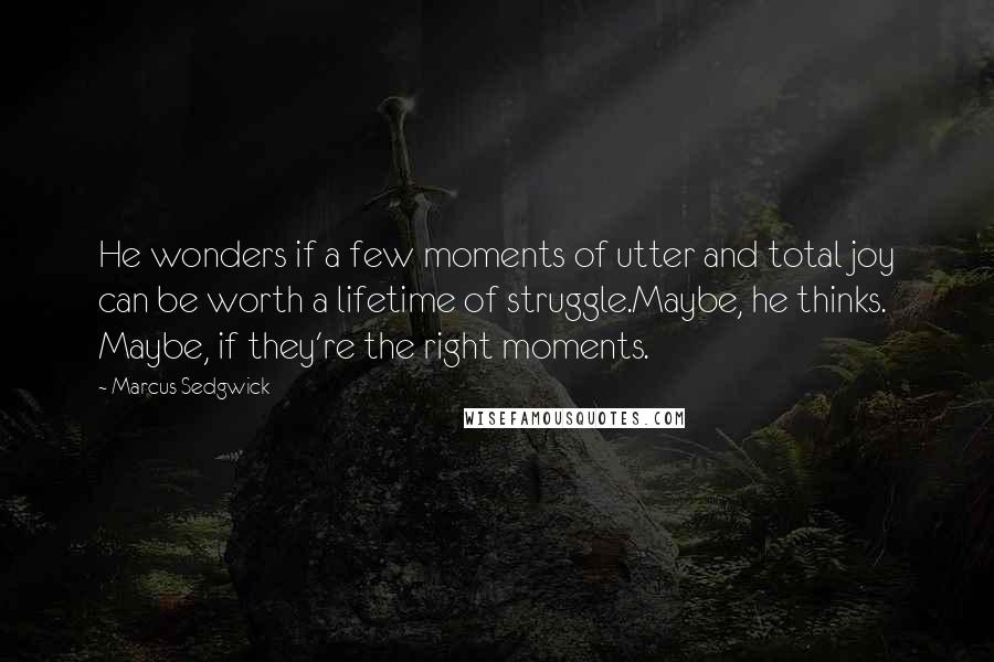 Marcus Sedgwick quotes: He wonders if a few moments of utter and total joy can be worth a lifetime of struggle.Maybe, he thinks. Maybe, if they're the right moments.