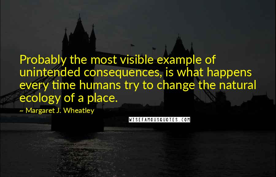 Margaret J. Wheatley quotes: Probably the most visible example of unintended consequences, is what happens every time humans try to change the natural ecology of a place.