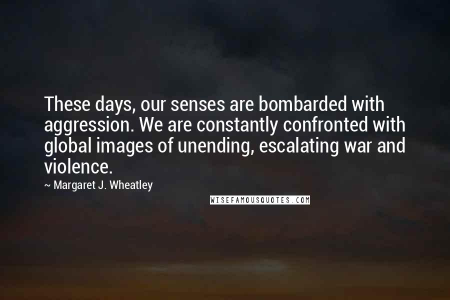 Margaret J. Wheatley quotes: These days, our senses are bombarded with aggression. We are constantly confronted with global images of unending, escalating war and violence.