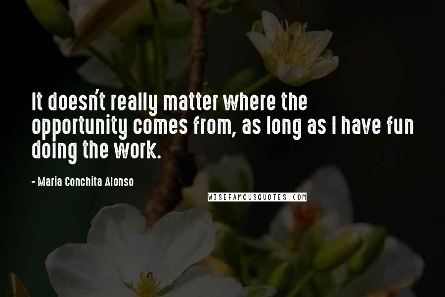 Maria Conchita Alonso quotes: It doesn't really matter where the opportunity comes from, as long as I have fun doing the work.