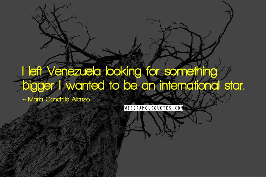 Maria Conchita Alonso quotes: I left Venezuela looking for something bigger. I wanted to be an international star.