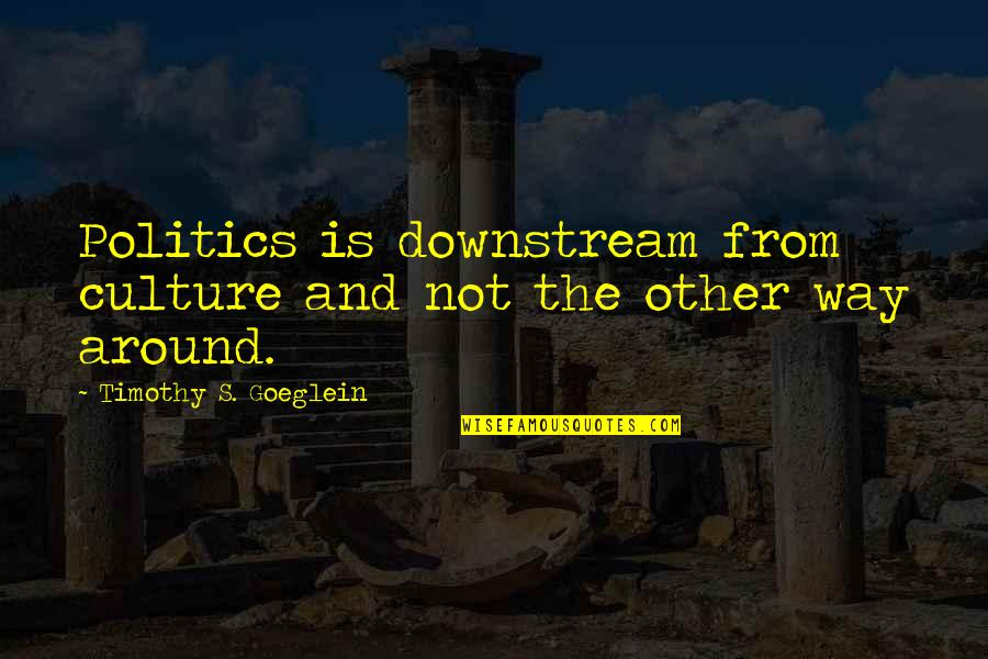 Maria Eleven Minutes Quotes By Timothy S. Goeglein: Politics is downstream from culture and not the