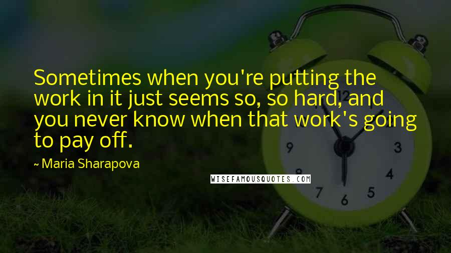 Maria Sharapova quotes: Sometimes when you're putting the work in it just seems so, so hard, and you never know when that work's going to pay off.