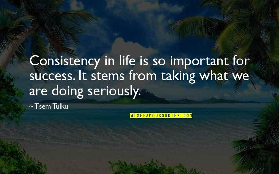Mariam In A Thousand Splendid Suns Quotes By Tsem Tulku: Consistency in life is so important for success.