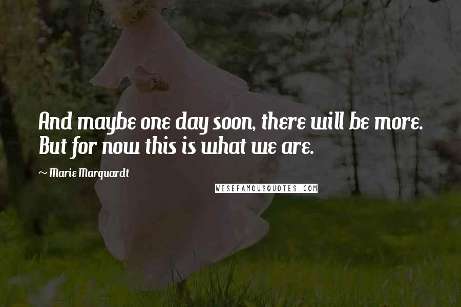 Marie Marquardt quotes: And maybe one day soon, there will be more. But for now this is what we are.