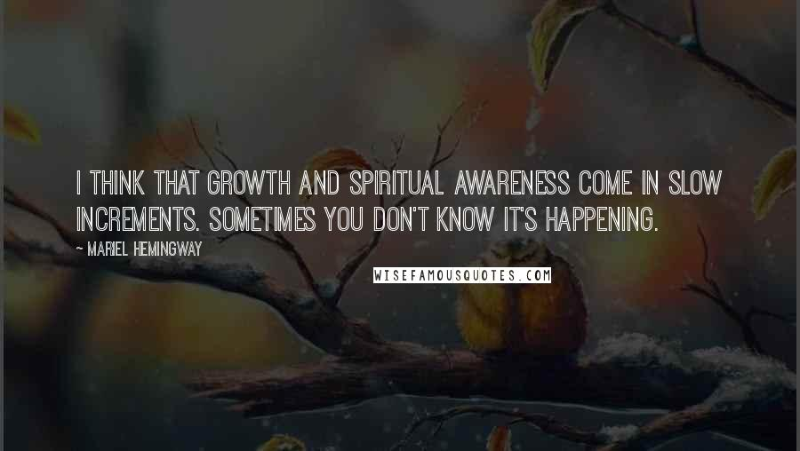 Mariel Hemingway quotes: I think that growth and spiritual awareness come in slow increments. Sometimes you don't know it's happening.