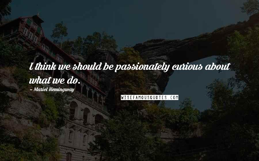 Mariel Hemingway quotes: I think we should be passionately curious about what we do.