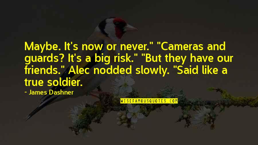 """Marilyn Monroe Inspirational Quotes By James Dashner: Maybe. It's now or never."""" """"Cameras and guards?"""