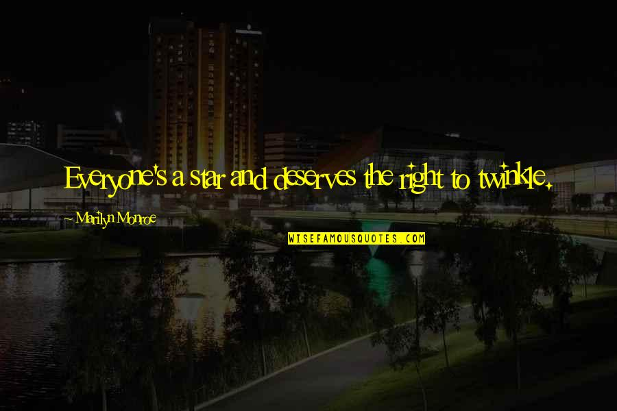 Marilyn Monroe Inspirational Quotes By Marilyn Monroe: Everyone's a star and deserves the right to
