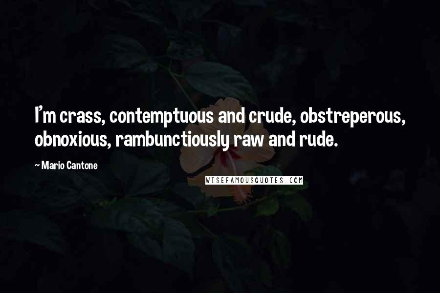 Mario Cantone quotes: I'm crass, contemptuous and crude, obstreperous, obnoxious, rambunctiously raw and rude.