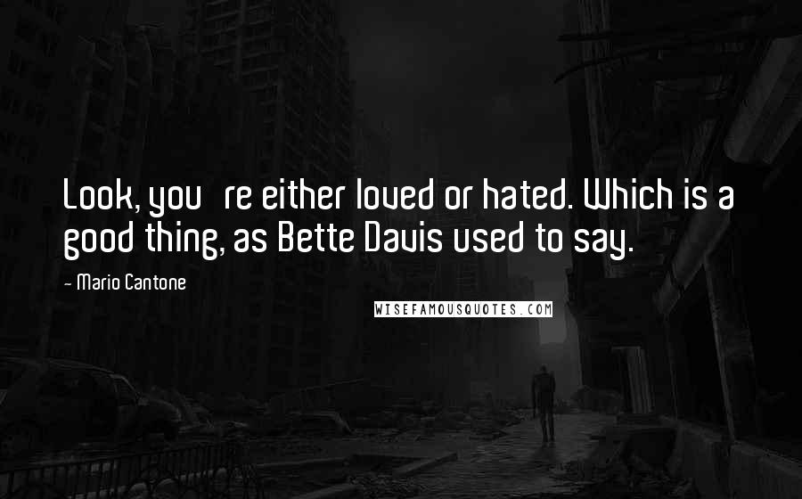 Mario Cantone quotes: Look, you're either loved or hated. Which is a good thing, as Bette Davis used to say.