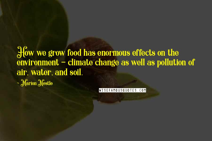 Marion Nestle quotes: How we grow food has enormous effects on the environment - climate change as well as pollution of air, water, and soil.