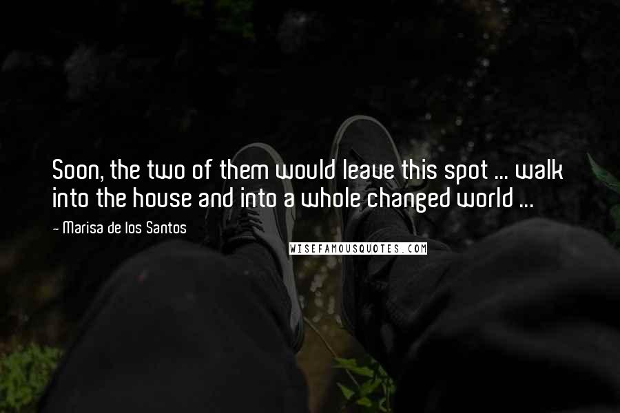 Marisa De Los Santos quotes: Soon, the two of them would leave this spot ... walk into the house and into a whole changed world ...
