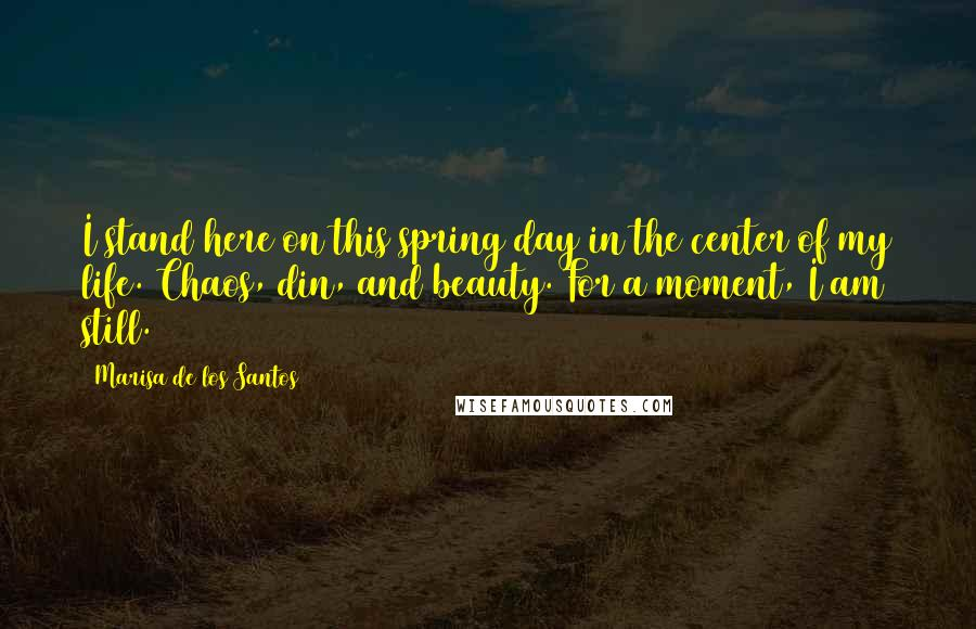 Marisa De Los Santos quotes: I stand here on this spring day in the center of my life. Chaos, din, and beauty. For a moment, I am still.