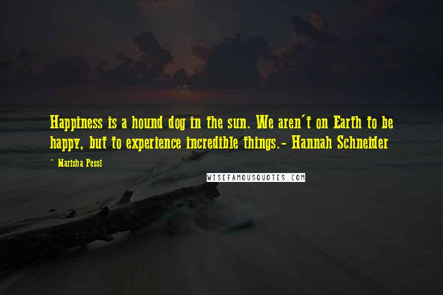Marisha Pessl quotes: Happiness is a hound dog in the sun. We aren't on Earth to be happy, but to experience incredible things.- Hannah Schneider