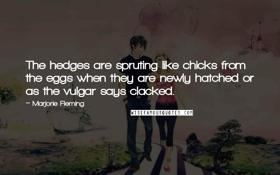 Marjorie Fleming quotes: The hedges are spruting like chicks from the eggs when they are newly hatched or as the vulgar says clacked.