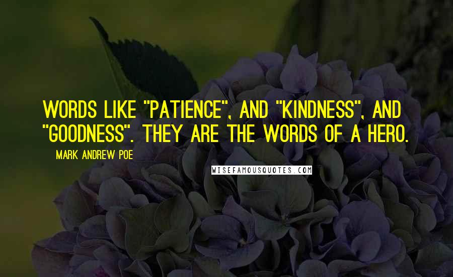 """Mark Andrew Poe quotes: Words like """"patience"""", and """"kindness"""", and """"goodness"""". They are the words of a hero."""