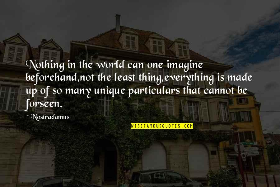 Mark Desvaux Quotes By Nostradamus: Nothing in the world can one imagine beforehand,not