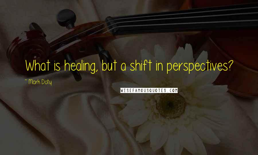 Mark Doty quotes: What is healing, but a shift in perspectives?