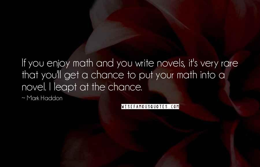 Mark Haddon quotes: If you enjoy math and you write novels, it's very rare that you'll get a chance to put your math into a novel. I leapt at the chance.