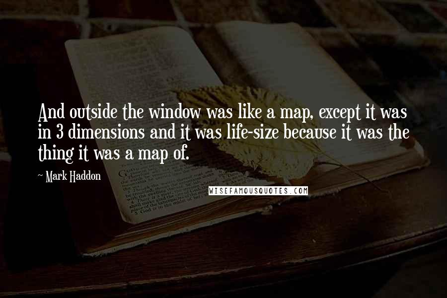 Mark Haddon quotes: And outside the window was like a map, except it was in 3 dimensions and it was life-size because it was the thing it was a map of.