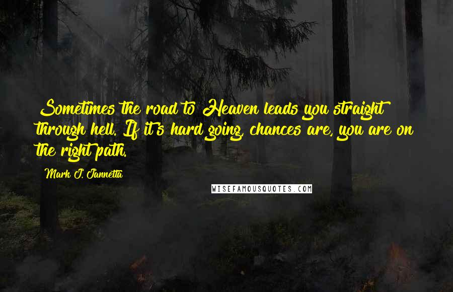 Mark J. Jannetta quotes: Sometimes the road to Heaven leads you straight through hell. If it's hard going, chances are, you are on the right path.