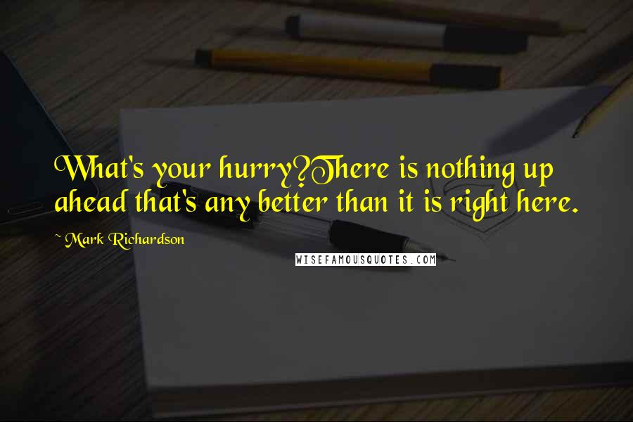 Mark Richardson quotes: What's your hurry?There is nothing up ahead that's any better than it is right here.