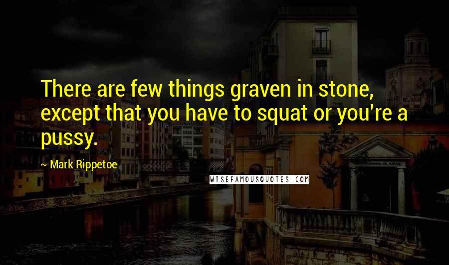 Mark Rippetoe quotes: There are few things graven in stone, except that you have to squat or you're a pussy.