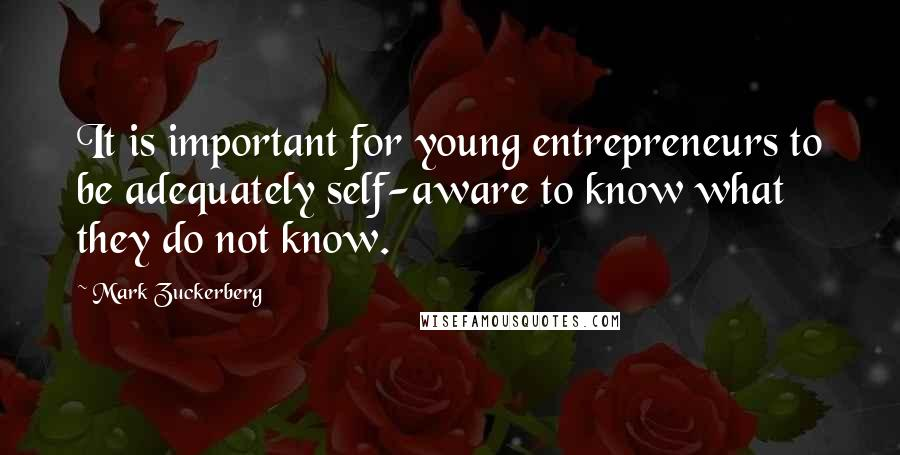 Mark Zuckerberg quotes: It is important for young entrepreneurs to be adequately self-aware to know what they do not know.