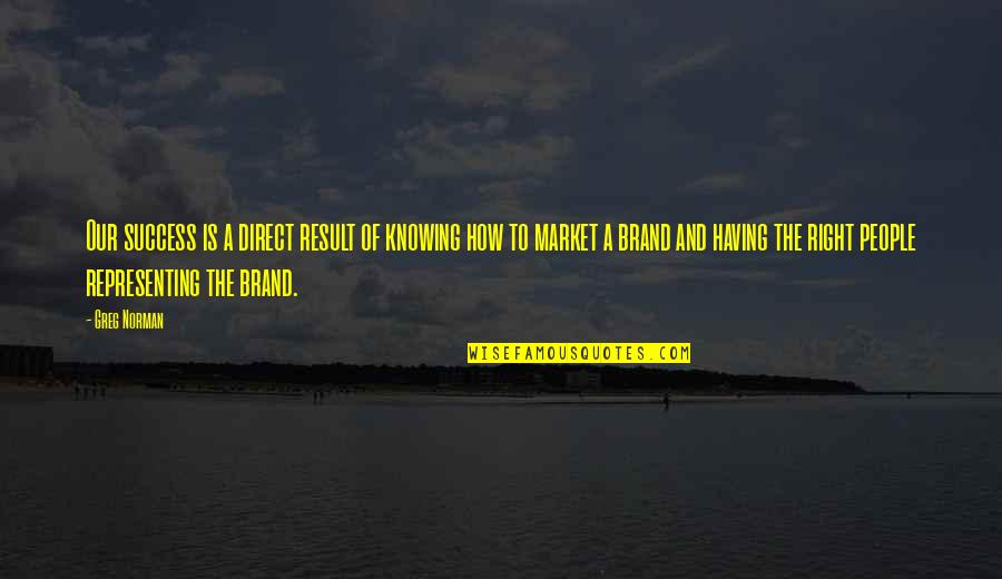 Marketing Success Quotes By Greg Norman: Our success is a direct result of knowing