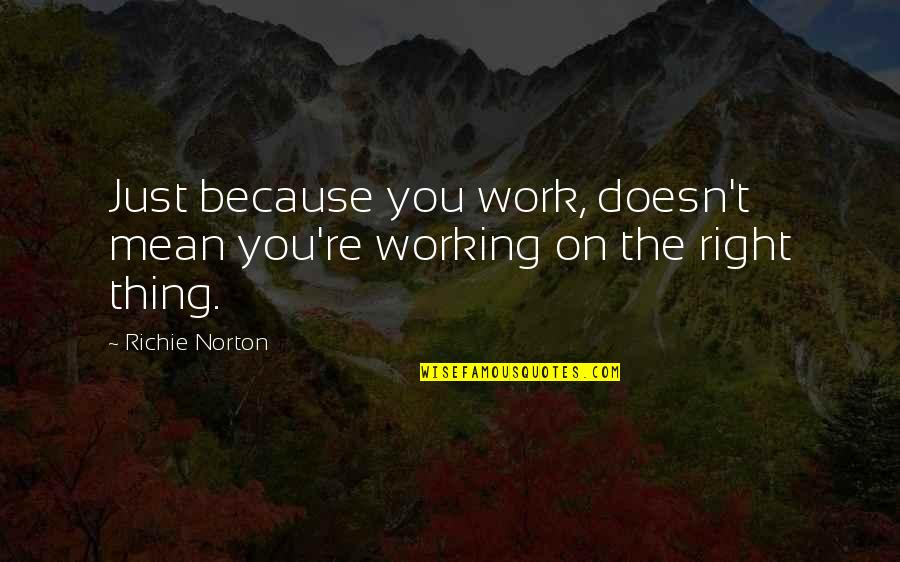 Marketing Success Quotes By Richie Norton: Just because you work, doesn't mean you're working