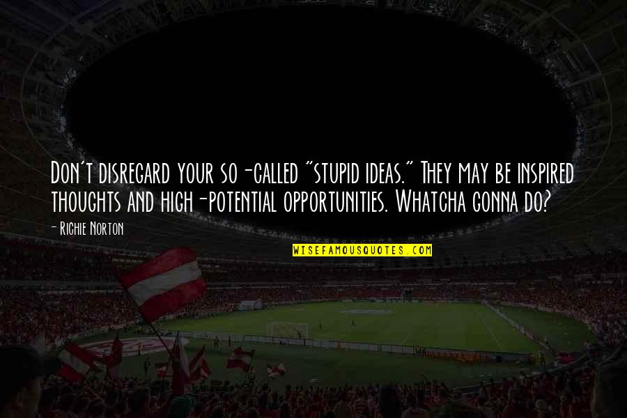 """Marketing Success Quotes By Richie Norton: Don't disregard your so-called """"stupid ideas."""" They may"""