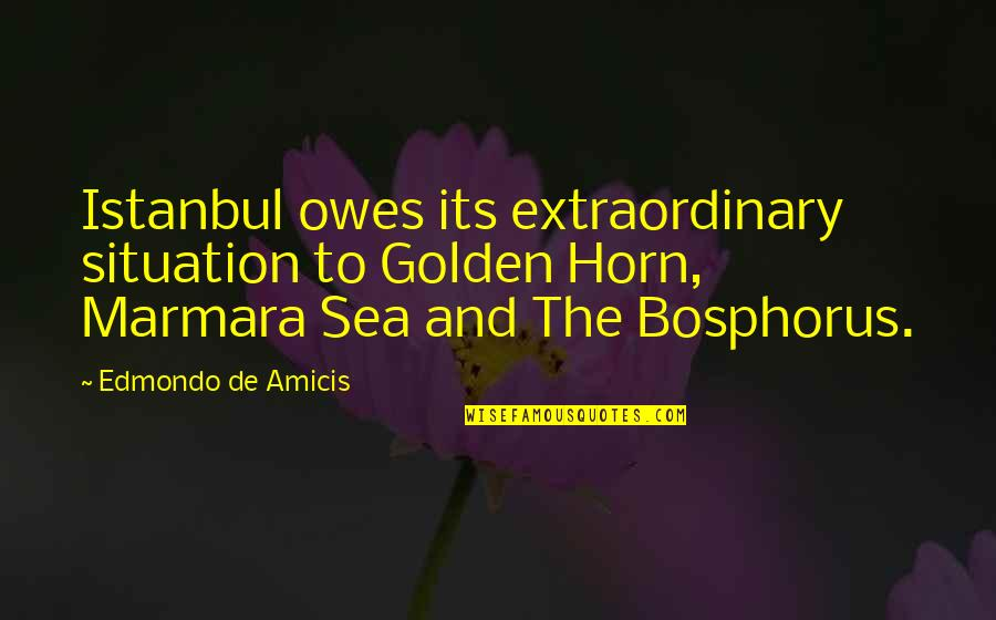 Marmara Quotes By Edmondo De Amicis: Istanbul owes its extraordinary situation to Golden Horn,
