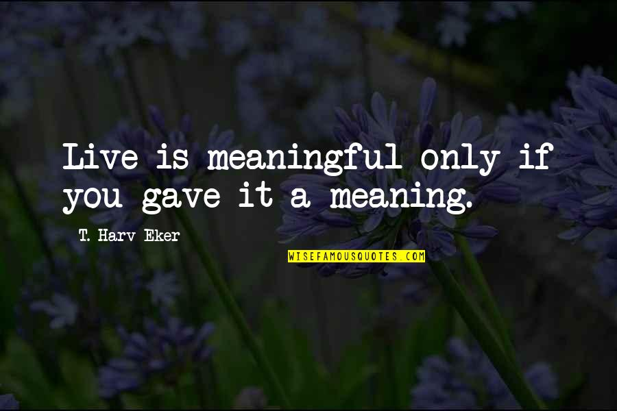 Maroon Colour Quotes By T. Harv Eker: Live is meaningful only if you gave it
