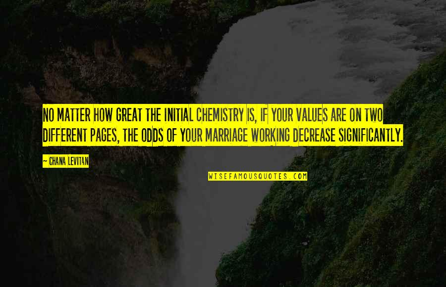 Marriage Not Working Quotes By Chana Levitan: No matter how great the initial chemistry is,