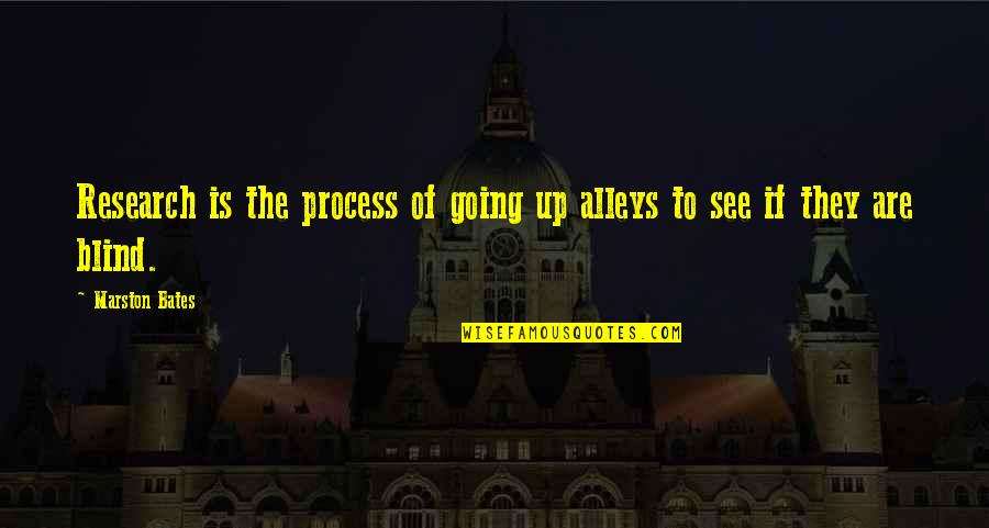 Marston Bates Quotes By Marston Bates: Research is the process of going up alleys