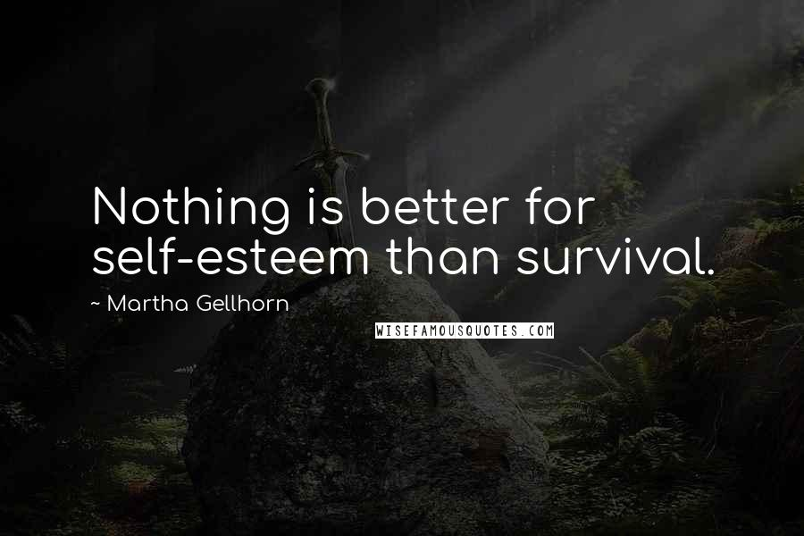 Martha Gellhorn quotes: Nothing is better for self-esteem than survival.