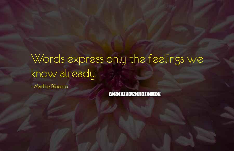 Marthe Bibesco quotes: Words express only the feelings we know already.