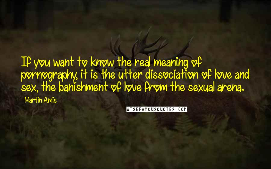Martin Amis quotes: If you want to know the real meaning of pornography, it is the utter dissociation of love and sex, the banishment of love from the sexual arena.