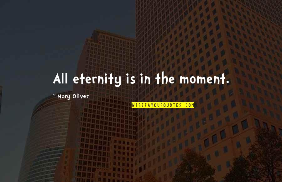 Mary 1 Quotes By Mary Oliver: All eternity is in the moment.