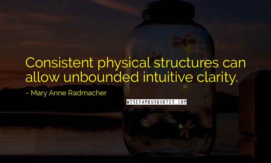 Mary Anne Radmacher quotes: Consistent physical structures can allow unbounded intuitive clarity.