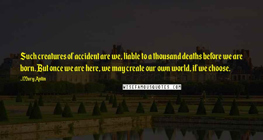 Mary Antin quotes: Such creatures of accident are we, liable to a thousand deaths before we are born. But once we are here, we may create our own world, if we choose.