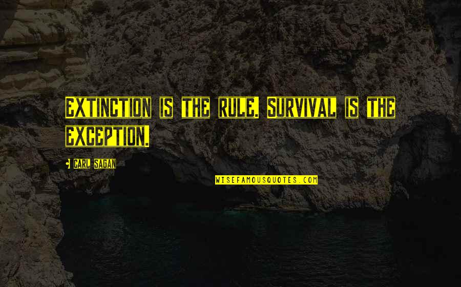 Mary Grandpre Quotes By Carl Sagan: Extinction is the rule. Survival is the exception.